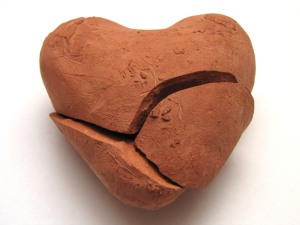 Broken clay heart